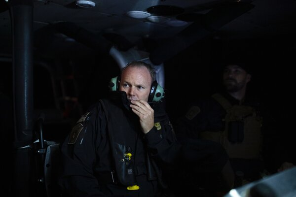 Supervisory Marine Interdiction Agent Kristofer Goland on patrol in Oct. 2019 near San Diego, Calif.