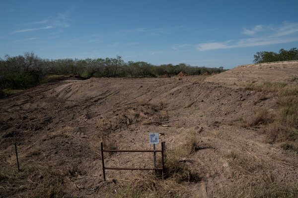 An area owned by the U.S. Fish and Wildlife Service, next to the National Butterfly Center, in Mission, Texas. The area was cleared for a wall that was to be built on the levee.