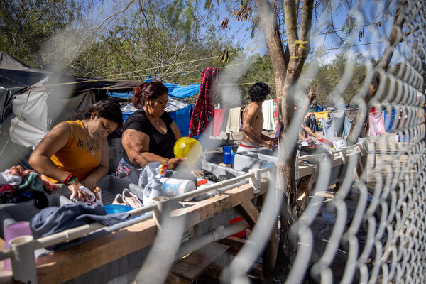 A camp for asylum seekers in Matamoros, Mexico. Many at the camp have waited for an immigration court hearing across the bridge in Brownsville, Texas.