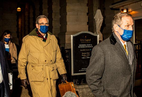 Bruce L. Castor Jr. and Michael T. van der Veen, lawyers forformer President Donald J. Trump, arriving at the Capitol on Friday.