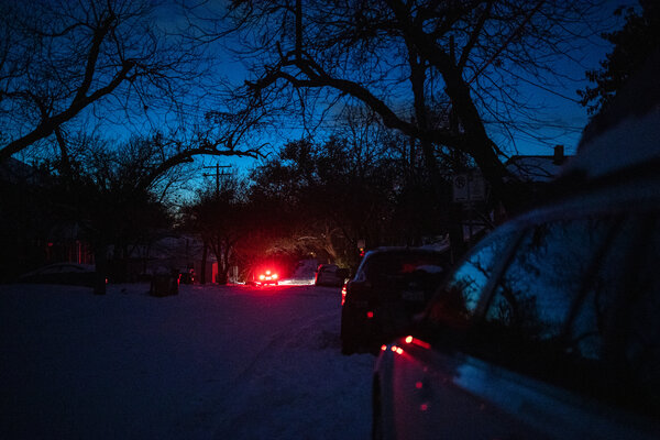A street in Austin, Texas, as much of the city was without power on Monday night.