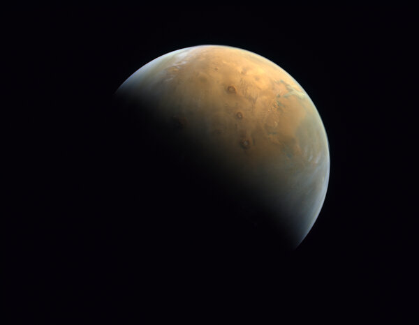 An image taken by the United Arab Emirates's Hope probe on Feb. 10 on its approach to Mars.