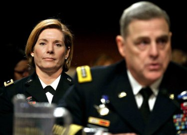 Lt. Gen. Laura J. Richardson of the Army listening to Gen. Mark A. Milley, then the Army chief of staff, testifying before Congress in 2016.