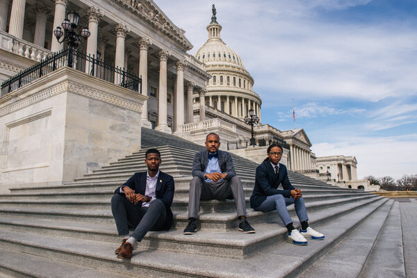 From left, Jabir McKnight, Mike McQuerry and Remmington Belford, aides to members of Congress, were at work on Capitol Hill during the mob attack on Jan. 6.