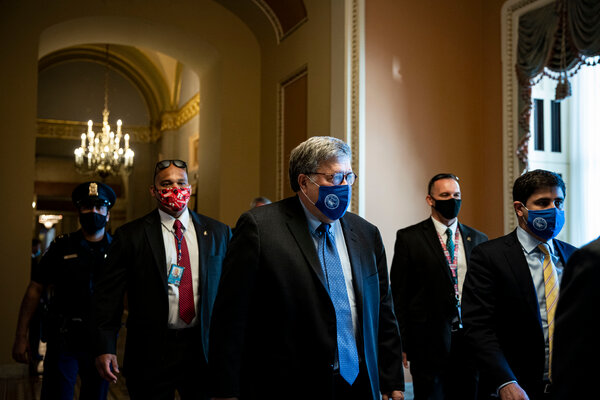 "William P. Barr, center, the former attorney general, said in an interview that the government ""cannot tolerate violence interfering with the process of government."""