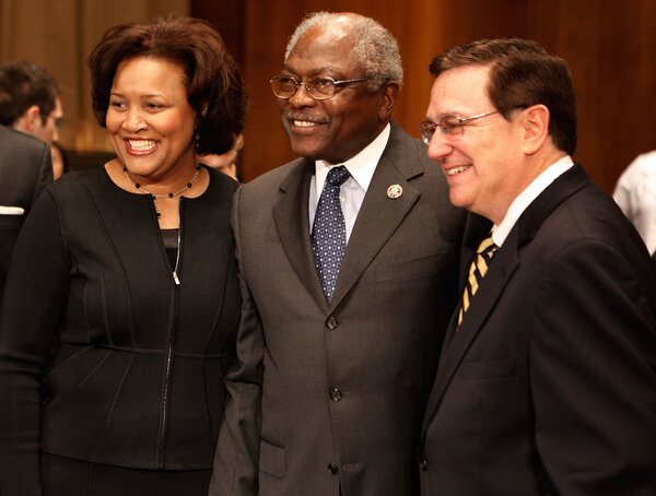 J. Michelle Childs, left, with Mr. Clyburn before her confirmation hearing to be a federal district court Judge in 2010.
