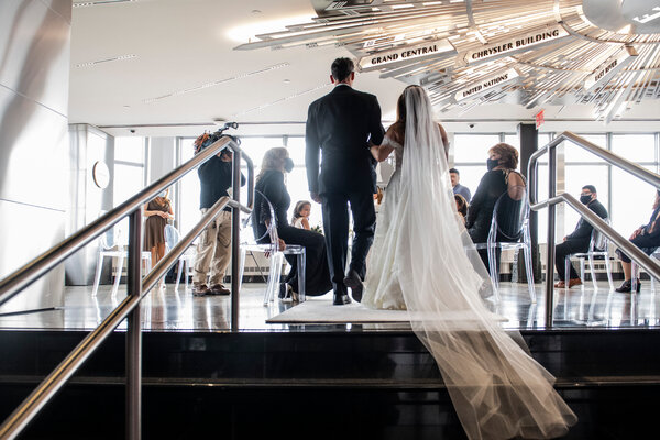 A wedding at the Empire State Building in New York this month.