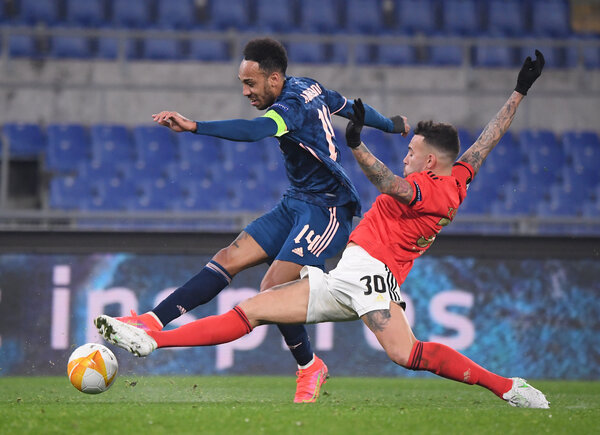 Pierre-Emerick Aubameyang, left, and Arsenal played against Benfica in Rome last week.