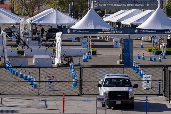 A COVID-19 vaccination superstation sits idle and empty due to the lack of vaccine in San Diego on Monday.