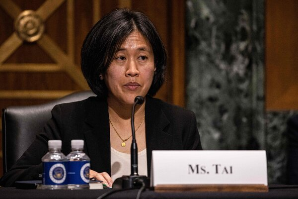 Katherine Tai, President Biden's nominee for U.S. trade representative at her confirmation hearing on Thursday.