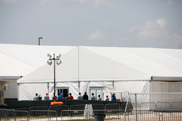 The Biden administration is expected to reopen a center for migrant children in Homestead, Fla., shown in 2019, that inspectors had deemed unhealthy and unsafe.