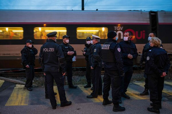 German and French border police officers at a train station in Strasbourg, eastern France, this month.