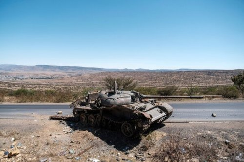 A damaged tank north of Tigray's capital last month.