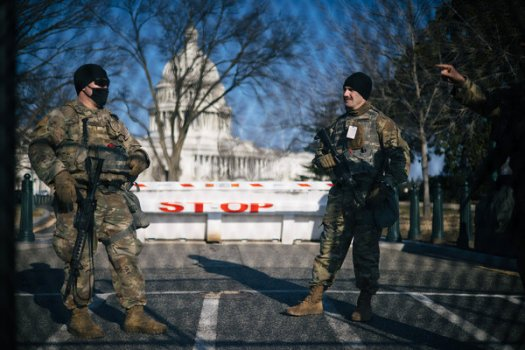 National Guard troops near the U.S. Capitol on Thursday.