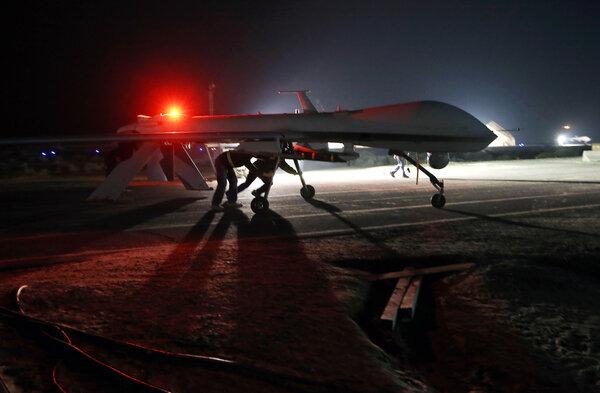 A U.S. Air Force MQ-1B Predator drone in the Persian Gulf region in 2016.Counterterrorism drone warfare has reached its fourth administration with President Biden.