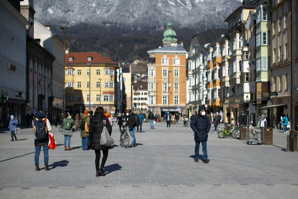 Downtown Innsbruck see a few people for shopping, by Tyrol has been under a strict lockdown to combat the spread of the South African mutation of the coronavirus.
