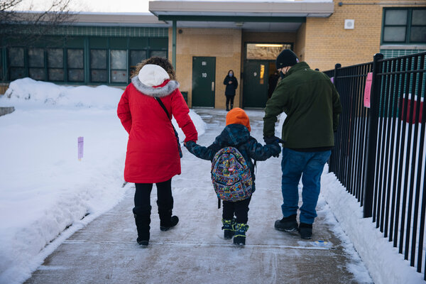 Heading back to school after in-person classes resumed in Chicago last month. The pandemic relief package includes tax credits for children and funding for schools.