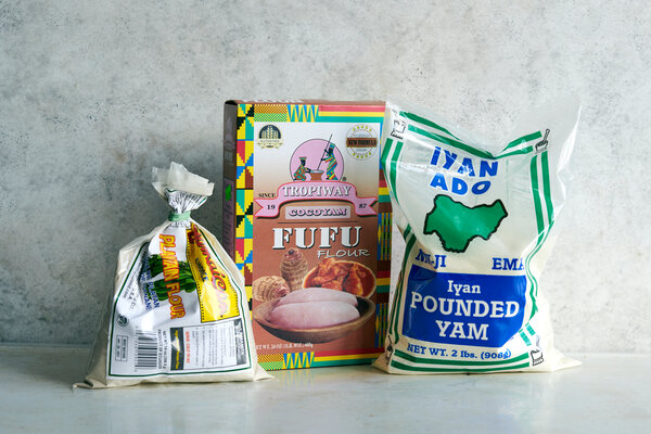 Finely milled flours from starchy vegetables can be used to make fufu. Several brands are available online or in the dried foods section of West African and Caribbean markets.