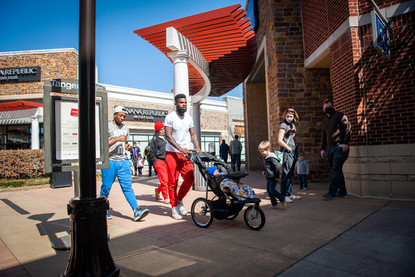 Shoppers in Southaven, Miss. Higher spending seems almost certain in the months ahead as vaccinations prompt Americans to get out and about, deploying savings.