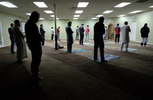 A prayer service at the Islamic Center in Sandy, Utah, last year. At least one American mosque is having a popup vaccination event to give members the chance to get two shots before Ramadan begins.