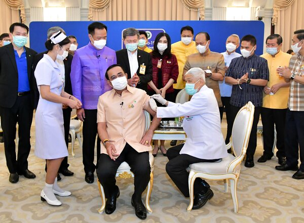 Prime Minister Prayuth Chan-ocha of Thailand received his first shot of the AstraZeneca vaccine in Bangkok on Tuesday.