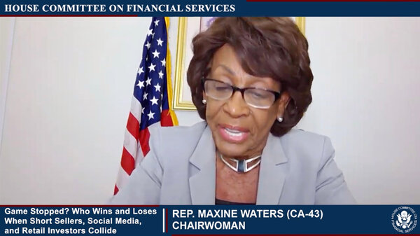 Representative Maxine Waters, the head of the House Financial Services Committee, during last month's hearing.