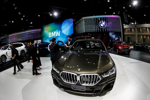BMWs on display at last year's Bangkok auto show. The German carmaker is taking a more cautious approach to electric vehicles than some rivals.