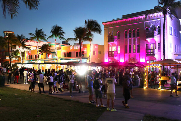 Ocean Drive in Miami Beach on Thursday. College students have arrived in the South Florida area for the annual spring break ritual.