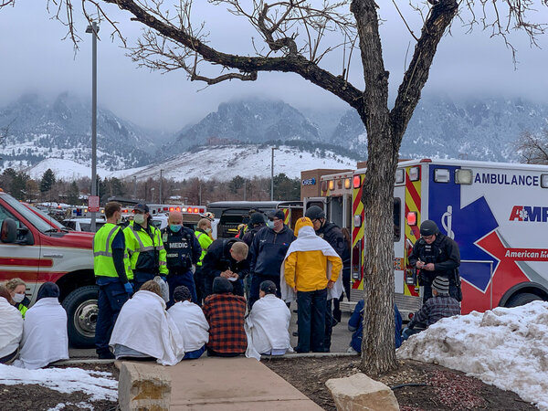 The scene outside a grocery store in Boulder, Colo., where police officers and paramedics responded to reports of a shooting on Monday.