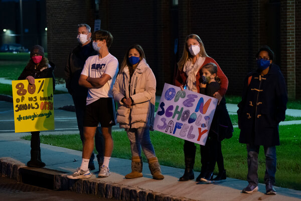 A rally of parents and schoolchildren to re-open the public schools in Scotch Plains-Fanwood at the Board of Education office in Scotch Plains.