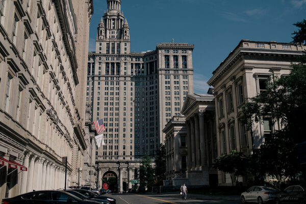 City Hall Park and Tweed Courthouse in Downtown Manhattan.