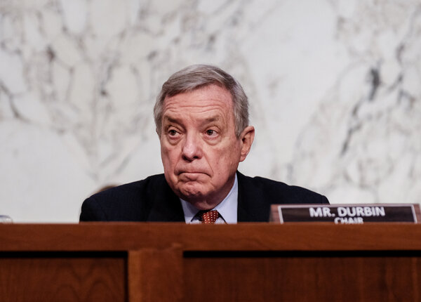 """Senator Dick Durbin, Democrat of Illinois, and the chairman of the committee, asked for a """"moment of action"""" during the hearing on gun violence."""