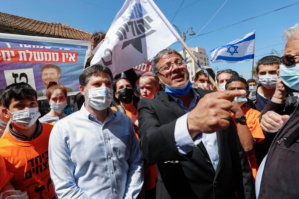 Itamar Ben Gvir, center right, is one of the candidates projected to enter Parliament as part of a Religious Zionist bloc.