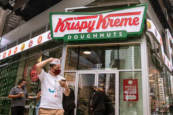 Krispy Kreme said this week that it would give one glazed doughnut per day this year to anyone who provides proof of a Covid-19 vaccination.