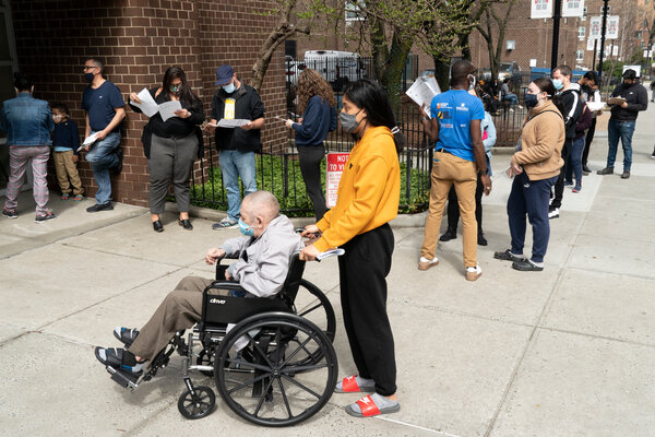 The line outside a vaccination site in the Bronx on Thursday.