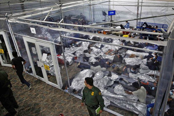 More than 4,100 migrant children and families were packed on Tuesday into a Texas border facility designed for 250 people.