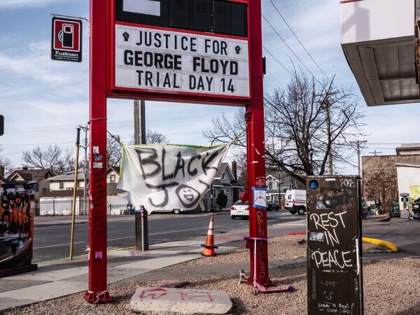 A memorial site for George Floyd near where he died in May was quiet on Tuesday morning.