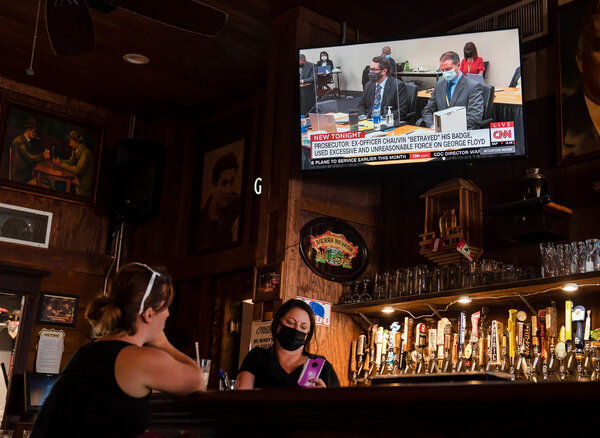The Derek Chauvin trial aired at Manuel's Tavern in Atlanta on Monday.