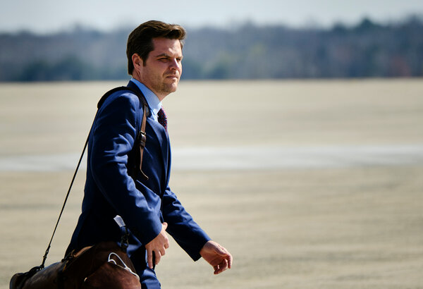 Representative Matt Gaetz said in an interview that he had no plans to resign his House seat and denied that he had romantic relationships with minors.