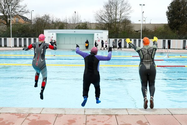 A pool in Hillingdon, in western London, on Monday, after lockdown restrictions were eased to allow outdoor sports facilities to open.