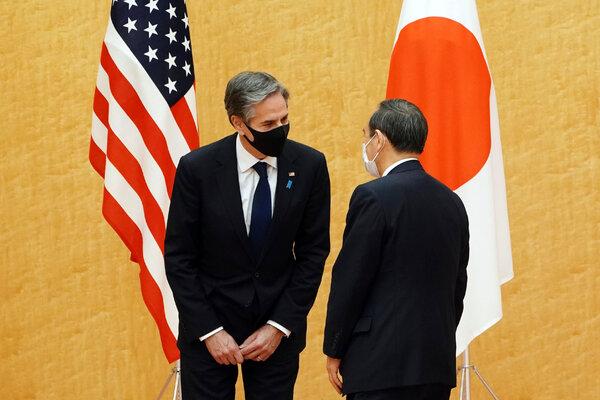 Secretary of State Antony J. Blinken and Prime Minister Yoshihide Suga of Japan in Tokyo last month.