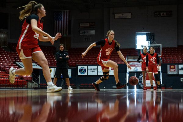 After cutting short its 2020-21 season because of disruptions during the pandemic, the Dixie State basketball team is back at practice in St. George, Utah, preparing for next season.