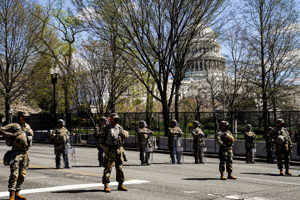 Members of the National Guard outside the Capitol on Friday.