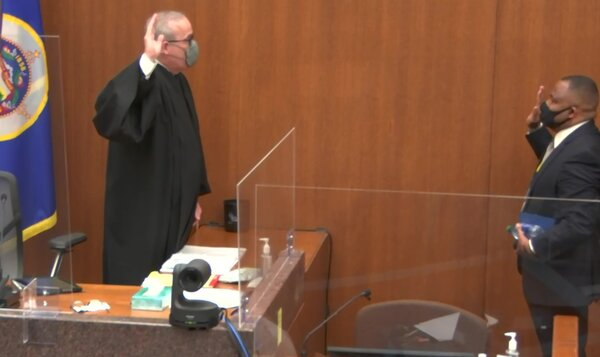 Los Angeles Police Sgt. Jody Stiger is sworn in before testifying today.