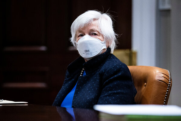 """""""Our tax revenues are already at their lowest level in generations,"""" Treasury Secretary Janet L. Yellen said. """"If they continue to drop lower, we will have less money to invest in roads, bridges, broadband and R&D."""""""