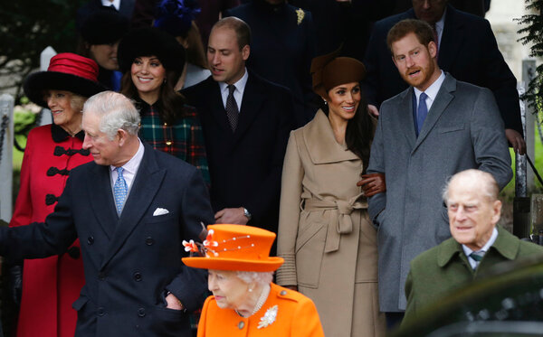 Members of the British royal family, including Harry and Meghan, in Sandringham, England, in 2017.