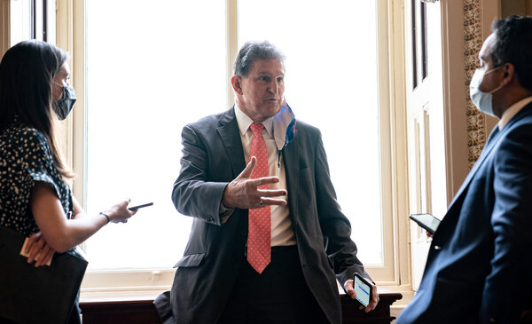 Senator Joe Manchin III, Democrat of West Virginia, with reporters at the Capitol last month.