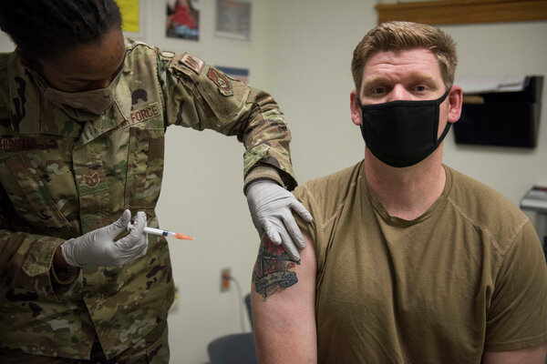Defense Department officials say that a production accident that spoiled millions of doses will hamper its vaccination efforts overseas. An Air Force sergeant was vaccinated in December at Kunsan Air Base in South Korea.