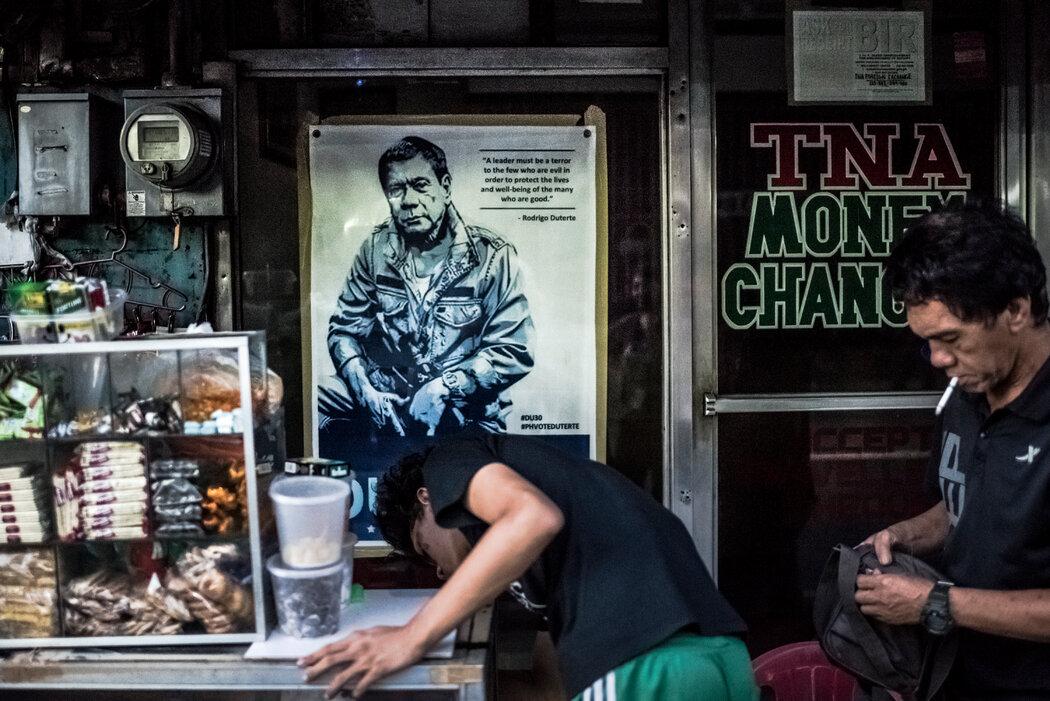 2016年杜特地在马尼拉的竞选海报。五年后,他仍然很受欢迎。