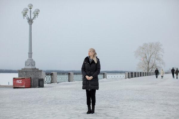 Olga Kagarlitskaya, 37, at the Volga river in Samara, Russia.
